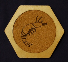 Custom hex drink coaster Prawn Designs Logo