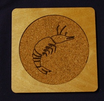 Custom square drink coaster Prawn Designs Logo